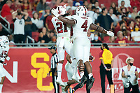LOS ANGELES, CA - SEPTEMBER 11: Kendall Williamson, Thomas Booker during a game between University of Southern California and Stanford Football at Los Angeles Memorial Coliseum on September 11, 2021 in Los Angeles, California.