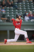 Center fielder Cole Brannen (10) of the Greenville Drive bats in a game against the Rome Braves on Friday, April 19, 2019, at Fluor Field at the West End in Greenville, South Carolina. Greenville won, 2-0. (Tom Priddy/Four Seam Images)