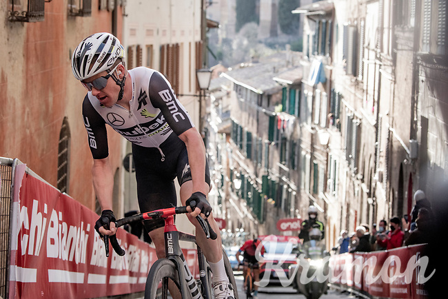 Simon Clarke (AUS:Qhubeka ASSOS) up the final steep climb in Siena<br /> <br /> 15th Strade Bianche 2021<br /> ME (1.UWT)<br /> 1 day race from Siena to Siena (ITA/184km)<br /> <br /> ©kramon