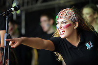 Pictured: A group of young people perform on stage Saturday 13 August 2016<br />