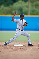 GCL Tigers West second baseman Jeremiah Burks (32) throws to first base during a Gulf Coast League game against the GCL Blue Jays on August 3, 2019 at the Englebert Complex in Dunedin, Florida.  GCL Blue Jays defeated the GCL Tigers West 4-3.  (Mike Janes/Four Seam Images)
