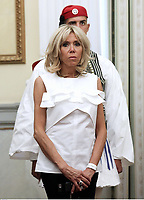 Pictured: Brigitte Macron, the wife of French President Emmanuel Macron. Thurday 07 September 2017<br /> Re: French President Emmanuel Macron gives a press conference alongside Greek President Prokopis Pavopoulos at the Presidential Mansion during his state visit to Athens, Greece.