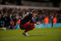 LONDON, ENGLAND - MARCH 04:  Gylfi Sigurosson of Swansea City reflects after the final whistle at  the Premier League match between Tottenham Hotspur and Swansea City at White Hart Lane on March 4, 2015 in London, England.  (Photo by Athena Pictures/Getty Images)