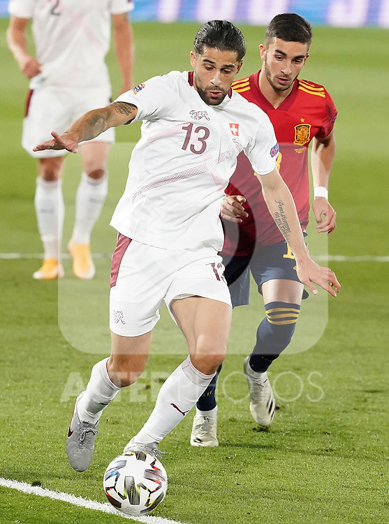 Spain's Ferran Torres (r) and Switzerland's Ricardo Rodriguez during UEFA Nations League 2020 League Phase match. October 10,2020.(ALTERPHOTOS/Acero)