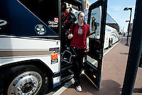 NORFOLK, VA--Bonnie Samuelson disembarks the bus with her teammates before heading to the first round matchup against Hampton University at the Ted Constant Convocation Center at Old Dominion University in Norfolk, VA for the 2012 NCAA Championships.