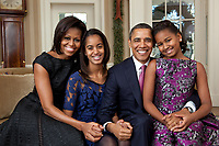 WASHINGTON - FEBRUARY 2011: President Barack Obama, First Lady Michelle Obama, and their daughters, Sasha and Malia poses for the official portrait in the White House in Washington, DC.<br /> <br /> People:  President Barack Obama, First Lady Michelle Obama, and their daughters, Sasha and Malia<br /> <br /> Transmission Ref:  FLXX<br /> <br /> Must call if interested<br /> Michael Storms<br /> Storms Media Group Inc.<br /> 305-632-3400 - Cell<br /> 305-513-5783 - Fax<br /> MikeStorm@aol.com<br /> www.StormsMediaGroup.com