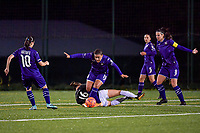 Anderlecht forward Mariam Toloba (19) and Aalst's forward Anaelle Wiard (16)in action during a female soccer game between RSC Anderlecht Dames and Eendracht Aalst Ladies  on the fourth matchday of the 2020 - 2021 season of Belgian Womens Super League , Tuesday 13 th of October 2020  in ANDERLECHT , Belgium . PHOTO SPORTPIX.BE | SPP | STIJN AUDOOREN