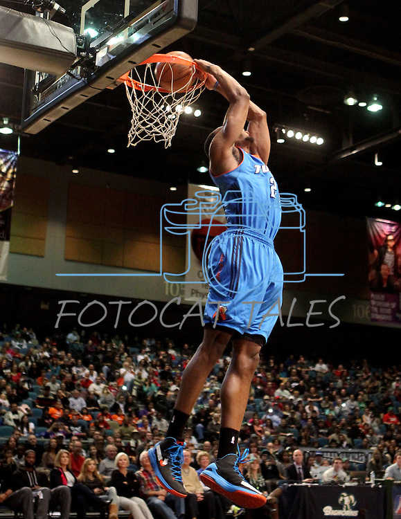 Dominique Sutton, of the Tulsa 66ers, competes in the slam dunk competition in the NBA D-League Showcase at the Reno Events Center, in Reno, Nev., on Wednesday Jan. 9, 2013. Sutton won the event..Photo by Cathleen Allison