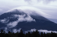 Storm Clouds flowing over Baxter Peak on Mount Katahdin, Baxter State Park, Maine.
