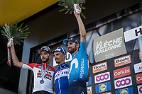 Podium:<br /> <br /> 1st place: Julien Alaphilippe (FRA/Quick Step Floors)<br /> 2nd place: Alejandro Valverde (ESP/Movistar)<br /> 3th place: Jelle Vanendert (BEL/Lotto Soudal)<br /> <br /> <br /> <br /> 82nd La Flèche Wallonne 2018<br /> 1 Day Race: Seraing - Huy (198,5km)