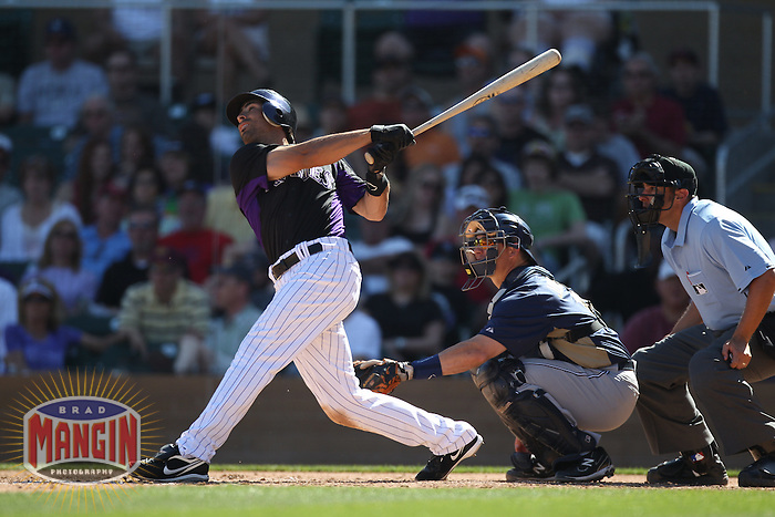 SCOTTSDALE, AZ - MARCH 12:  Ryan Spilborghs of the Colorado Rockies bats during the spring training game between the San Diego Padres  and the Colorado Rockies on March 12, 2011 at Salt River Fields at Talking Stick in Scottsdale, Arizona. Photo by Brad Mangin