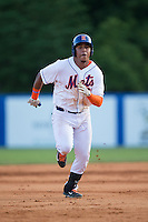 Gregory Valencia (47) of the Kingsport Mets hustles towards third base against the Elizabethton Twins at Hunter Wright Stadium on July 9, 2015 in Kingsport, Tennessee.  The Twins defeated the Mets 9-7 in 11 innings. (Brian Westerholt/Four Seam Images)