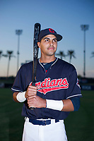 Johnathan Rodriguez (10) of the AZL Indians poses for a photo before a game against the AZL Padres on August 30, 2017 at Goodyear Ball Park in Goodyear, Arizona. (Zachary Lucy/Four Seam Images)