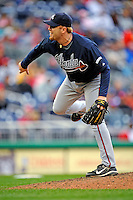 13 April 2008: Atlanta Braves' pitcher Blaine Boyer in action against the Washington Nationals at Nationals Park, in Washington, DC. The Nationals ended their 9-game losing streak by defeating the Braves 5-4 in the last game of their 3-game series...Mandatory Photo Credit: Ed Wolfstein Photo