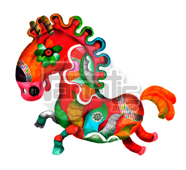 Illustration of colorful carousel horse over white background