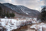 Franconia Notch State Park during the winter months in the White Mountains, New Hampshire USA.