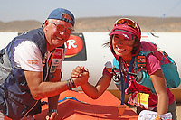 8th October 2021; Boulchrhal to Sud Jebel Irhfelt N'Tissalt ; Marathon des Sables, stage 5 and final stage of a six-day, 251 km ultramarathon, which is approximately the distance of six regular marathons. The longest single stage is 91 km long. This multiday race is held every year in southern Morocco, in the Sahara Desert. Tomomi Bitoh (JPN) receives her medal from Patrick Bauer after winning the 5th stage of MDS