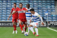 Queens Park Rangers' Ilias Chair is tackled by Middlesbrough's Jonathan Howson<br /> <br /> Photographer Stephanie Meek/CameraSport<br /> <br /> The EFL Sky Bet Championship - Queens Park Rangers v Middlesbrough - Saturday 26th September 2020 - Loftus Road - London <br /> <br /> World Copyright © 2020 CameraSport. All rights reserved. 43 Linden Ave. Countesthorpe. Leicester. England. LE8 5PG - Tel: +44 (0) 116 277 4147 - admin@camerasport.com - www.camerasport.com