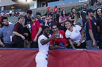CARSON, CA - FEBRUARY 1: Mark McKenzie #4 of the United States with fans after the match during a game between Costa Rica and USMNT at Dignity Health Sports Park on February 1, 2020 in Carson, California during a game between Costa Rica and USMNT at Dignity Health Sports Park on February 1, 2020 in Carson, California.