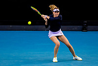 13th February 2021, Melbourne, Victoria, Australia; Ekaterina Alexandrova of Russia returns the ball during round 3 of the 2021 Australian Open on February 13 2020, at Melbourne Park in Melbourne, Australia.