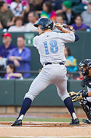 Hunter Dozier (18) of the Wilmington Blue Rocks at bat against the Winston-Salem Dash at BB&T Ballpark on April 3, 2014 in Winston-Salem, North Carolina.  The Blue Rocks defeated the Dash 3-1.  (Brian Westerholt/Four Seam Images)