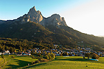 Italy, South Tyrol, Alto Adige, Valle Isarco, Dolomites, village Siusi allo Sciliar and Sciliar mountains