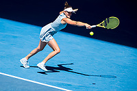 15th February 2021, Melbourne, Victoria, Australia; Jennifer Brady of the United States of America returns the ball during round 4 of the 2021 Australian Open on February 15, 2021, at Melbourne Park in Melbourne, Australia.