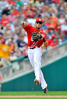 24 September 2011: Washington Nationals shortstop Ian Desmond makes a play against the Atlanta Braves at Nationals Park in Washington, DC. The Nationals defeated the Braves 4-1 to even up their 3-game series. Mandatory Credit: Ed Wolfstein Photo