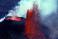 Kilauea Volcano erupting with fountaining lava and steam. Hawaii Volcanoes National Park, Puu Oo vent