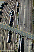 aerial photograph of commuter rail tracks Dallas, Texas