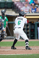 T.J. Friedl (6) of the Dayton Dragons at bat against the West Michigan Whitecaps at Fifth Third Field on May 29, 2017 in Dayton, Ohio.  The Dragons defeated the Whitecaps 4-2.  (Brian Westerholt/Four Seam Images)