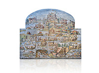 Pictures of the famous Nilotic landscape Palestrina Mosaic or Nile mosaic of Palestrina of the Museo Archeologico Nazionale di Palestrina Prenestino  (Palestrina Archaeological Museum), Palestrina, Italy. Against a white background.