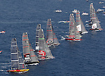 19 May 2006, Valencia, Spain --- America's Cup yachts race during start on the first flight of their fleet race during the first day of the Louis Vuitton Act 11 in Valencia, eastern Spain. Photo by Victor Fraile / The Power of Sport Images