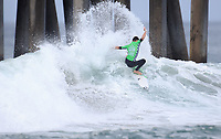 Huntington Beach, CA - Sunday July 30, 2017: Ryland Rubens during a Qualifying Series (QS) trials round heat in the 2017 Vans US Open of Surfing on the South side of the Huntington Beach pier.