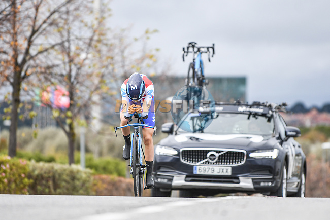 Serbian Champion Jelena Eric (SER) Movistar Team Women in action during Stage 2 of the CERATIZIT Challenge by La Vuelta 2020, an individual time trial running 9.3km around Boadilla del Monte, Spain. 6th November 2020.<br /> Picture: Antonio Baixauli López/BaixauliStudio | Cyclefile<br /> <br /> All photos usage must carry mandatory copyright credit (© Cyclefile | Antonio Baixauli López/BaixauliStudio)