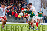 Stephen O'Brien  Kerry in action against Rory Brennan Tyrone during the Allianz Football League Division 1 Round 1 match between Kerry and Tyrone at Fitzgerald Stadium, Killarney on Sunday.