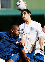 Soccer, UEFA U-17.France Vs. England.Sebastien Haller of France and Adam Jackson of England jump for the ball.Indjija, 03.05.2011..foto: Srdjan Stevanovic