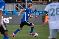 SAN JOSE, CA - MAY 15: Jackson Yueill #14 of the San Jose Earthquakes dribbles the ball during a game between San Jose Earthquakes and Portland Timbers at PayPal Park on May 15, 2021 in San Jose, California.