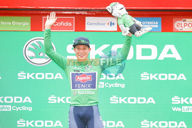 Jasper Philipsen (BEL) Alpecin-Fenix wins Stage 5 and takes over the points Green Jersey of La Vuelta d'Espana 2021, running 184.4km from Tarancón to Albacete, Spain. 18th August 2021.    <br /> Picture: Luis Angel Gomez/Photogomezsport | Cyclefile<br /> <br /> All photos usage must carry mandatory copyright credit (© Cyclefile | Luis Angel Gomez/Photogomezsport)