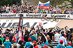 Swiss Champion Silvan Dillier (SUI) AG2R La Mondiale ahead of World Champion Peter Sagan (SVK) Bora-Hansgrohe as they enter the Roubaix Velodrome at the end of the 116th edition of Paris-Roubaix 2018. 8th April 2018.<br /> Picture: ASO/Bruno Bade | Cyclefile<br /> <br /> <br /> All photos usage must carry mandatory copyright credit (© Cyclefile | ASO/Bruno Bade)