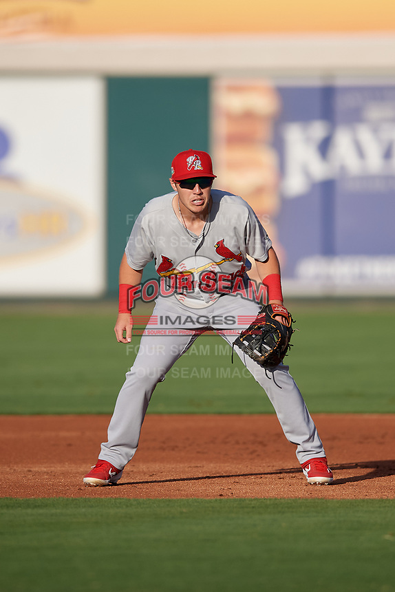 Palm Beach Cardinals first baseman Zach Kirtley (18) during a Florida State League game against the Lakeland Flying Tigers on April 17, 2019 at Publix Field at Joker Marchant Stadium in Lakeland, Florida.  Lakeland defeated Palm Beach 1-0.  (Mike Janes/Four Seam Images)