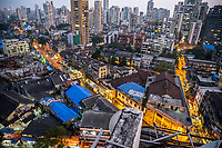 India, Maharashtra, Mumbai, Bombay, red light district. Evening view of redlight district, Grant & Falkland Road from on top of Ali Tower.