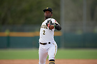 GCL Pirates pitcher Angel Suero (2) during a Gulf Coast League game against the GCL Twins on August 6, 2019 at Pirate City in Bradenton, Florida.  GCL Twins defeated the GCL Pirates 1-0 in the second game of a doubleheader.  (Mike Janes/Four Seam Images)