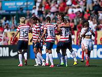 Megan Rapinoe, Shannon Boxx, Tobin Heath, Carli Lloyd, Alex Morgan, Abby Wambach, Mariela Campos.  The USWNT defeated Costa Rica, 8-0, during a friendly match at Sahlen's Stadium in Rochester, NY.