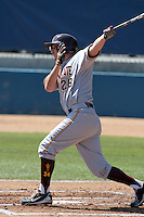 Trever Allen #28 of the Arizona State Sun Devils bats against the Long Beach State Dirtbags at Blair Field on March 11, 2012 in Long Beach,California. Arizona State defeated Long Beach State 6-1.(Larry Goren/Four Seam Images)