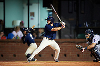 Mobile BayBears left fielder Forrestt Allday (5) at bat in front of catcher Adrian Nieto (17) during a game against the Pensacola Blue Wahoos on April 25, 2017 at Hank Aaron Stadium in Mobile, Alabama.  Mobile defeated Pensacola 3-0.  (Mike Janes/Four Seam Images)