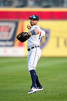 Toledo Mud Hens outfielder Kody Clemens (23) warms up before a game against the St. Paul Saints on August 26, 2021 at Fifth Third Field in Toledo, Ohio.  (Mike Janes/Four Seam Images)