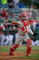 Auburn Doubledays catcher Wilmer Perez (20) throws to first base during a NY-Penn League game against the Batavia Muckdogs on June 14, 2019 at Dwyer Stadium in Batavia, New York.  Batavia defeated 2-0.  (Mike Janes/Four Seam Images)