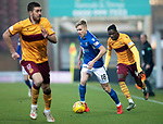 Motherwell v St Johnstone…..30.11.19   Fir Park   SPFL<br />Ali McCann gets between Declan Gallagher and Devante Cole<br />Picture by Graeme Hart.<br />Copyright Perthshire Picture Agency<br />Tel: 01738 623350  Mobile: 07990 594431
