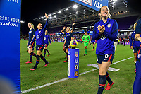 ORLANDO, FL - MARCH 05: Ali Krieger #11, Andi Sullivan #6 and the USWNT celebrate during a game between England and USWNT at Exploria Stadium on March 05, 2020 in Orlando, Florida.